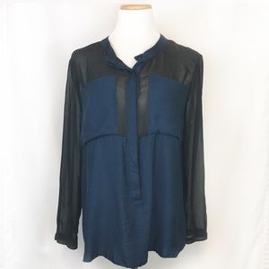 UO Silence + Noise Blue Pocket Button Down Shirt